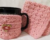 Handmade Mug Cozy and Wash Cloth Crocheted Set Pink Cotton