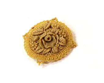 Vintage Celluloid Floral Round Brooch Pin Made in Japan