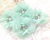 4 pcs Aubrey PALE MINT Green - Soft Chiffon with pearls and rhinestones Mesh Layered Small Fabric Flowers, Hair accessories