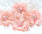 NEW: 4 pcs Aubrey BLUSH CORAL  - Soft Chiffon with pearls and rhinestones Layered Small Fabric Flowers, Hair accessories