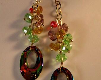 Swarovski Crystal Earrings, Vitrail earrings, cluster earrings, gold earrings, crystal earrings, vitrail crystal, swarovski vitrail crystal