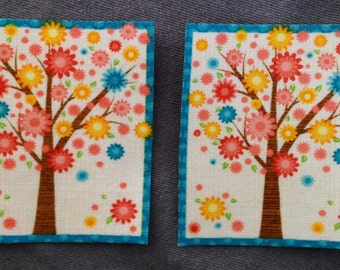 2 Retro Trees No Sew Iron On Appliques Cotton Patches