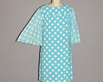 60s Dress, Mod 1960s Angel Sleeve Polka Dot Mini Dress, Megan Draper Mad Men