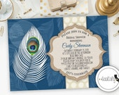 Bridal Shower Invitation, Peacock Feather Invitation, Printable Invitation, Feather Invite, Birthday Party, Digital or Printed Invitation