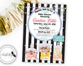 Sweet Tooth Baby Shower Invitation, Candy Theme, Candy Bar, Printable Invitation, Gold Confetti, Glitter, DIY, Digital or Printed Invitation
