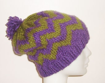 Knit Womens pom pom hat in green purple chevron