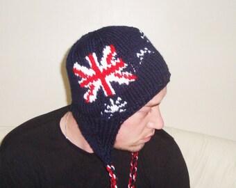 Knit mens hat with ear flaps, winter hats, Ski Hats, Australian Flag, Australian Gift for Men, gift for him