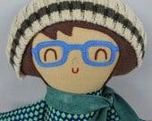 Gavin, boy doll with glasses, boy gift, birthday gift, rag doll