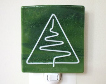 Christmas Tree Fused Glass Night Light Green
