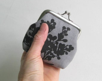 Small Coin Purse in Gray with White and Black Branch Blossoms