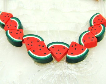 Fimo Polymer Clay Flat Beads Colorful  Watermelon Fruit 8x11mm approx. - 8 pieces