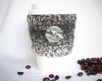 Button travel mug cup cozy coffee crochet variegated gray eco wool