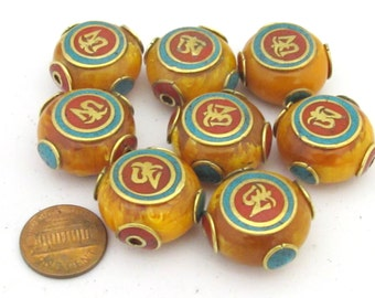1 Bead  - Large 24 mm size Tibetan copal resin Om bead with brass , turquoise and coral inlay- BD684