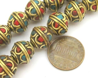 8 beads - Tibetan brass bead with turquoise and coral inlay - BD720