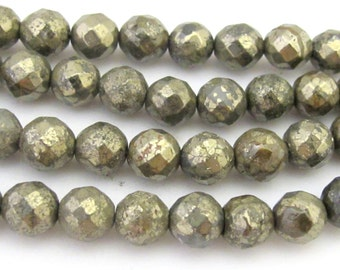 10 BEADS - Round Faceted Pyrite gemstone beads 8 mm  - GM362