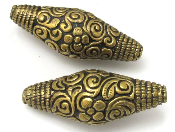 2 BEADS - Large Bicone shape tibetan brass repousse antiqued gold tone floral design beads - BD619