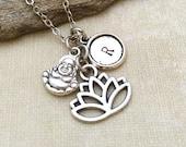 Lotus Necklace, Buddha Necklace, Initial Necklace, Best friend Gift, Best friend Necklace, Gift Ideas, Handmade Necklace, Yoga Necklace