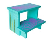 Large 2 Step Stool - Custom Hand Painted Children's Bench Seat Ocean Octopus or Any Kids Theme