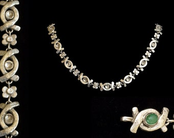 Silver CHAIN with Emerald clasp - handmade