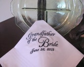 Personalized Grandfather of the Bride machine embroidered wedding handkerchief by Sweet Sewing Jeans