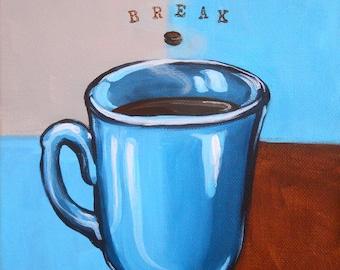 Coffee Break 8x10 original acrylic painting on canvas