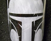 Star Wars Boba Fett etched pint glass tumbler