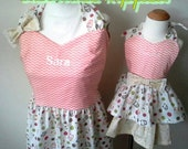 Mommy and Me Custom Apron Set Made to Match in cotton prints