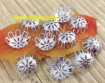 Silver Plated 18mm Flower Bead Cap, NICKEL FREE, 24 pcs (MC002)