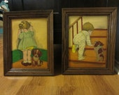 Vintage Antique Children with Puppy Dog Nursery Room Hand Painted Picture in Vibrant Colors