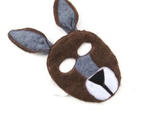 Kangaroo Mask, Dress Up, Zoo Animal Birthday Party Favor, Children's Halloween Costume, Adult Mask