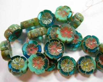 10 beads -  Aqua Blue Turquoise Blend Picasso Czech Glass Flower Beads 14mm