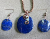 Lapis Lazuli Pendant & Earring Set Antique Copper Wire wrap Hand made watercolorsNmore
