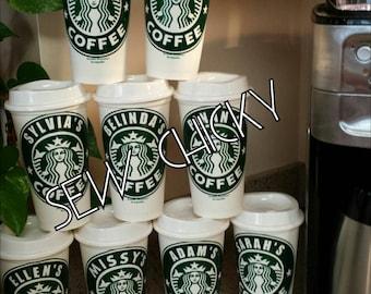 Personalized Starbucks Reusable Coffee Tumbler with Starbucks Image / OPTIONAL Monogram / Starbuck Coffee Cup / Tea / Frappuccino / Latte