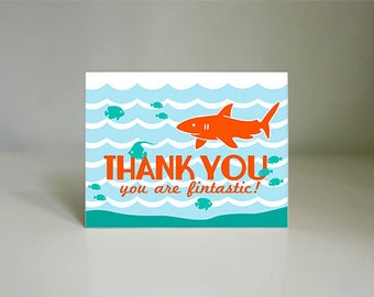SHARK Thank You Card in Tangerine Orange and Teal Blue- Instant Printable Download