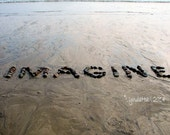 Beach Theme IMAGINE Photo with Mat- 5x7  beach photo print, creative message, beach stone word, inspirational art, coastal art, beach decor