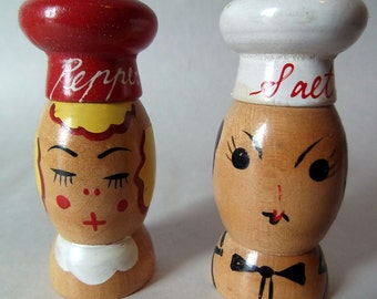 Vintage wood hand painted Sleepy Angry Lesbians Salt & Pepper Shakers