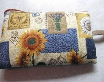 sunflower and denim blue travel print large padded bag