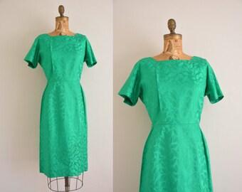 vintage 1950s dress / kelly green brocade dress / 50s dress
