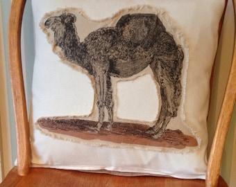Linen Camel Throw Pillow Cover