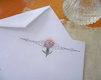 Print Your Own! Pink Dianthus Flower Stationery Download