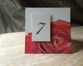 Red Rose Table Number Tents - for Events, Weddings, Parties, Showers, Graduations.