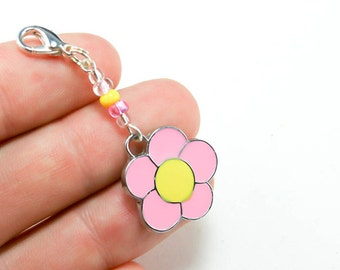 Girls Party Favors. Pink Flower Charm for Party Favors. Flower Keychain Charm. BSC055