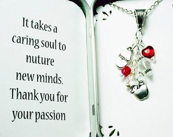 Teacher Appreciation Gift - Thank You Necklace. Packaged Necklace Gift. Custom Apple Necklace. NKL020