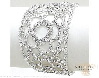 Crystal Flower Bracelet, Statement Bracelet, Vintage Inspired Bridal Bracelet, Evening Bracelet, Rhinestone Bracelet