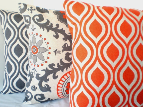 orange gray pillow covers decorative throw by fabricjunkie1640. Black Bedroom Furniture Sets. Home Design Ideas