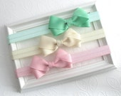 Baby Headband Set, You Pick Bow Colors, Infant Headbands, Baby Girl Headband Set,  Baby Hair Accessories, Baby Hairbows, Mint Hair Bow