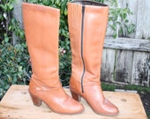 BOOTS - vintage Caramel Brown Tall Leather Boots sz 6 M
