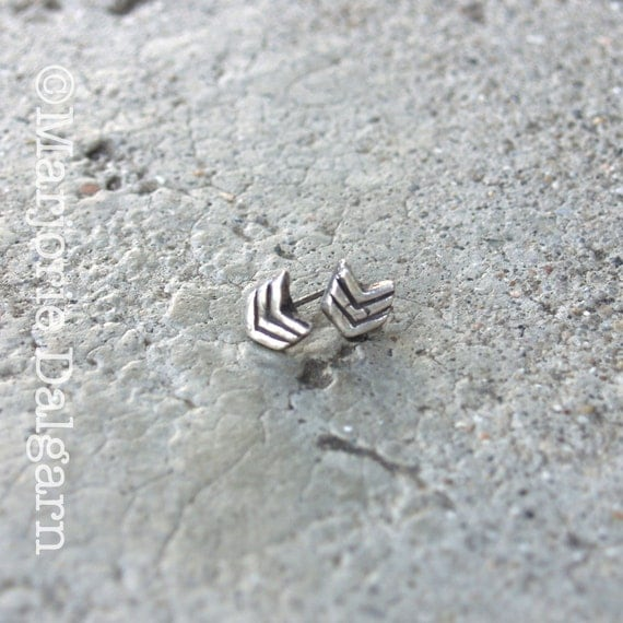 Chevron Pattern Fine Silver Post Stud Earrings with Sterling Silver Post and Earring Back