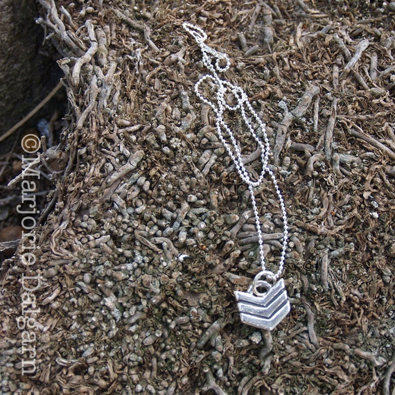 Chevron Pattern Fine Silver Pendant with Sterling Silver Chain