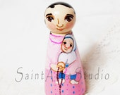 St Gianna Beretta Molla Catholic Saint Toy - Wooden Doll  - Made to Order